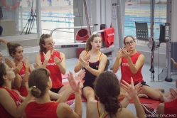 The team land drills some of its routines before jumping in the water. Photo Christina Marmet/Inside Synchro