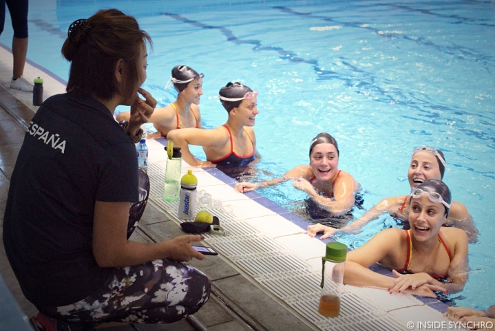 "Mayuko Fujiki (left) and the team laugh and make fun of each other after working on facial expression and the ""synchro smile."" Photo Christina Marmet/Inside Synchro"
